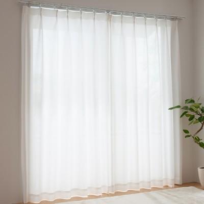 PM2.5対応遮熱UVカットミラーレースカーテン/ホワイト/幅100×丈68(2枚組)