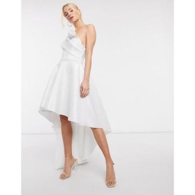 エイソス レディース ワンピース トップス ASOS DESIGN bonded glitter mesh one shoulder high low midi prom dress in light silver Light silver