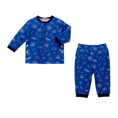 ミキハウス ダブルB キッズ 【アウトレット】ミニ裏毛パイルパジャマ【90cm ブルー】 男の子