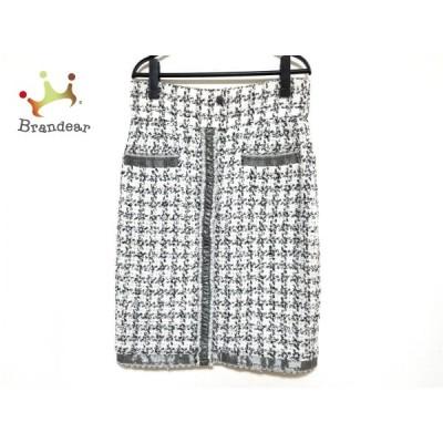 シャネル CHANEL スカート サイズ42 L レディース 美品 - P34932 アイボリー×黒×ダークグレー 新着 20210107