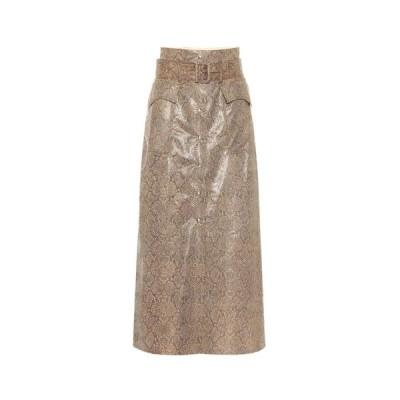 ナヌシュカ Nanushka レディース ロング・マキシ丈スカート スカート Aarohi snake-effect faux leather skirt Brown