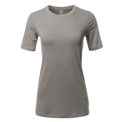 レディース 衣類 トップス A2Y Women's Basic Solid Premium Cotton Short Sleeve Crew Neck T Shirt Tee Tops Mid Grey S