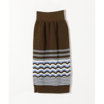 SHIPS for women/シップスウィメン COOHEM: レトロウェーブニットスカート ブラウン ONE SIZE