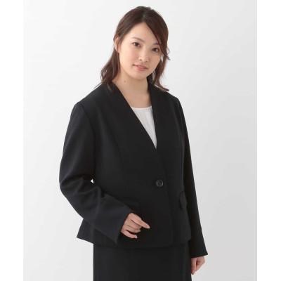 【エウルキューブ】 ノーカラージャージージャケット レディース ネイビー 15 eur3( 大きいサイズ)
