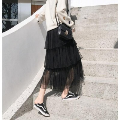 レディース チュール スカート ふんわり ロングスカート ウエストゴム プリーツスカート ケーキスカート マキシスカート 可愛い