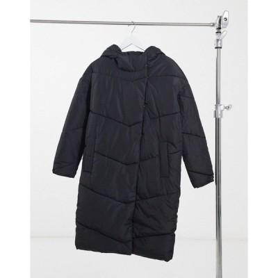 ノイジーメイ レディース コート アウター Noisy May padded maxi coat in black Black