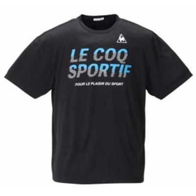 大きいサイズ メンズ LE COQ SPORTIF ドライ ピンメッシュ 半袖 Tシャツ ブラック 1278-0231-2 2L 3L 4L 5L 6L