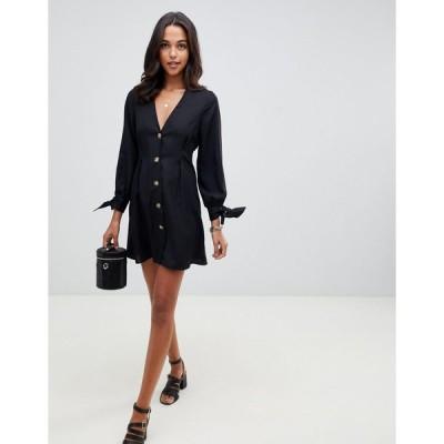 エイソス ミディドレス レディース ASOS DESIGN button through mini skater dress with tie sleeves エイソス ASOS ブラック 黒