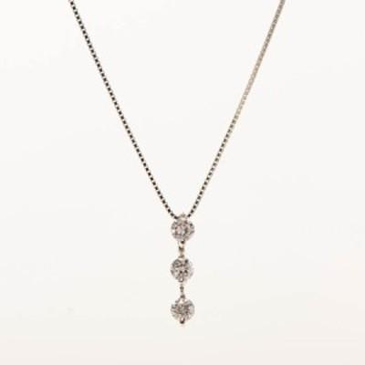 【中古】A品 ダイヤ ネックレス K18WG K18ホワイトゴールド ダイヤ0.500ct 2.6g レディース