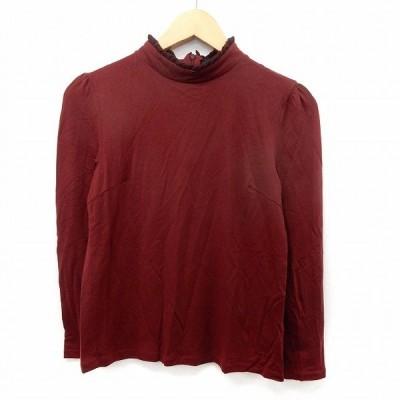【中古】ローズバッド ROSE BUD カットソー Tシャツ ハイネック 長袖 無地 シンプル バックジップ F レッド  /ST31 レディース 【ベクトル 古着】