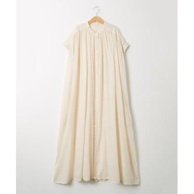 綿100% たっぷりギャザーシャツワンピース(半袖) (ワンピース)Dress