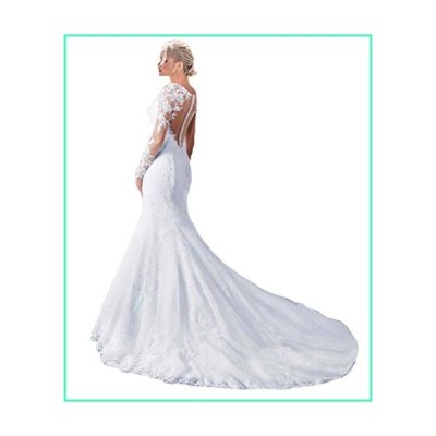 Fashionbride Women's See Through Back Long Sleeve Mermaid Wedding Dress 2020 Bridal Gowns White-US22W並行輸入品