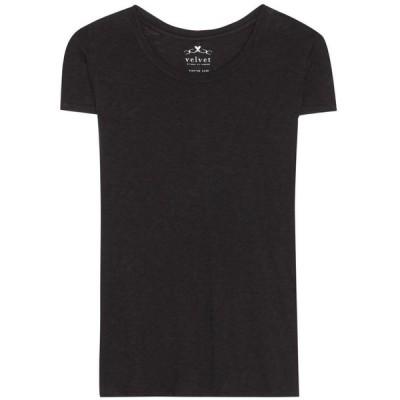 ベルベット グラハム&スペンサー レディース Tシャツ トップス Odelia cotton T-shirt BLACK