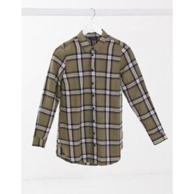 ニュールック レディース シャツ トップス New Look plaid shirt in khaki Green pattern