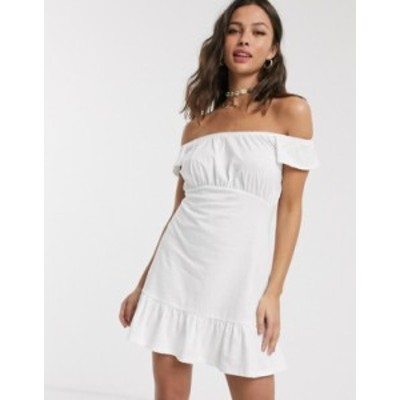 エイソス レディース ワンピース トップス ASOS DESIGN off shoulder mini sundress with pep hem in white White