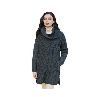 Aran Crafts Women's Irish Oversized Side Zipped Collared Coat (X4909-LARGE-