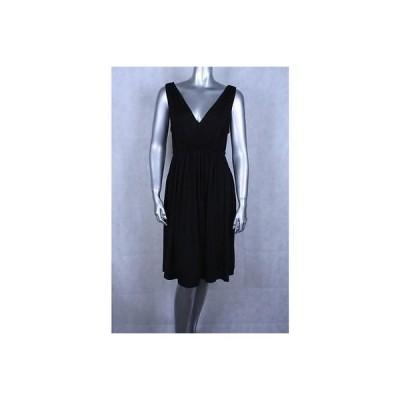 ダナキャラン  ドレス ワンピース フォーマル DKNY ブラック ノースリーブ Pleated Elastic Waist ドレス Sz 9 295LFO