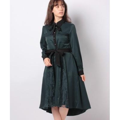 【アクシーズファム】 バイカラー襟シャツワンピース レディース ダーク グリーン M axes femme