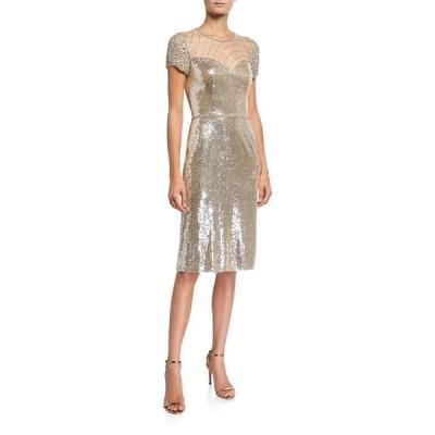 ジェニー・パッカム レディース ワンピース トップス Sequin Cap-Sleeve Cocktail Dress