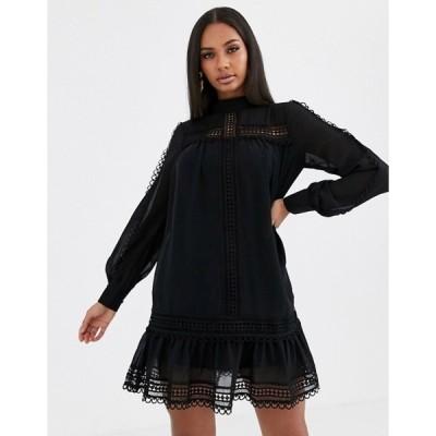 ミスガイデッド レディース ワンピース トップス Missguided high neck crochet trim dress in black
