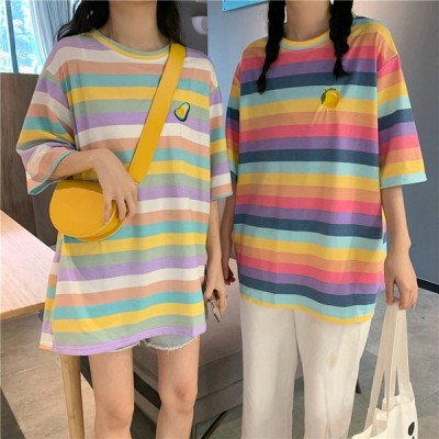 Tシャツ レインボー ボーダー パステル ビッグシルエット 韓国ファッション 夏 カラフル M L XL トップス 刺繍