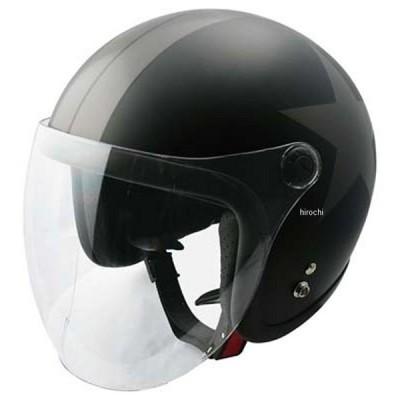 【メーカー在庫あり】 4984679512674 TNK工業 ジェットヘルメット JL-65SR  ハーフマットブラック/ガンメタ/スター フリーサイズ(58-59cm) JP店