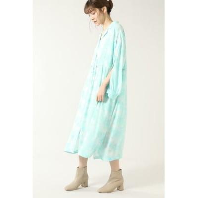 ROSE BUD/ローズ バッド マーブルプリントシャツドレス ライトグリーン -