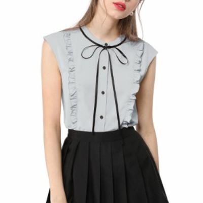 Allegra K Women's Cute Tie Neck Sleeveless Ruffle Button Down Chiffon Summer Shirt Gray L