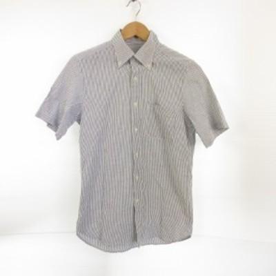 【中古】ビームス BEAMS シャツ 半袖 ボタンダウン ストライプ 白 グレー *E176 メンズ