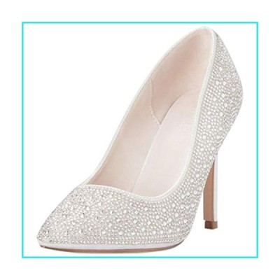 David's Bridal Crystal Detailed Satin Pointed-Toe Pumps Style RENZO73X, White, 7【並行輸入品】