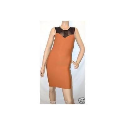 ドレス ボウリー  Boulee Mesh top scuba Bronze dress size 2/4