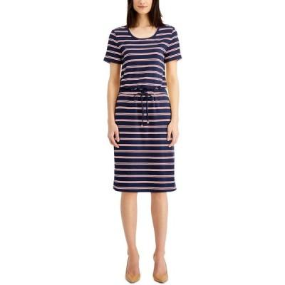 チャータークラブ ワンピース トップス レディース Petite Printed Drawstring-Waist Dress, Created for Macy's Intrepid Blue Combo