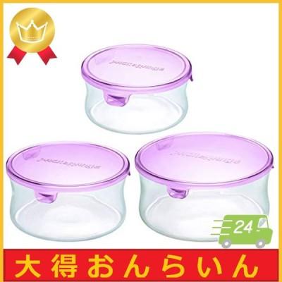 iwaki(イワキ) 耐熱 ガラス 保存容器 丸型 パック&レンジ 3点セット ピンク 380ml  1個 / 840ml  1個 / 1300ml  1個 AZB-PRN-P3