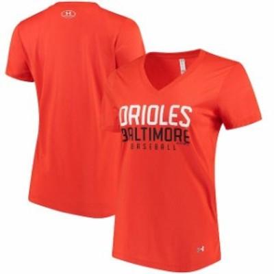 Under Armour アンダー アーマー スポーツ用品  Under Armour Baltimore Orioles Womens Orange Tech Performance V-Neck T-Shirt