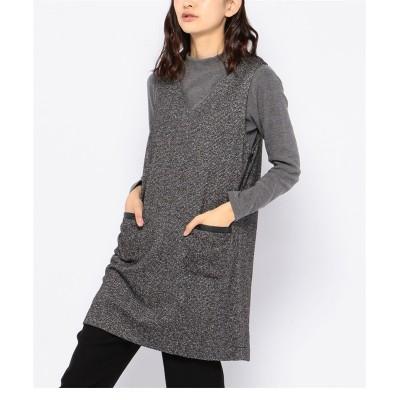 大きいサイズ DECOY ツイード調ニットジャンパードレス ,スマイルランド, ワンピース, plus size dress