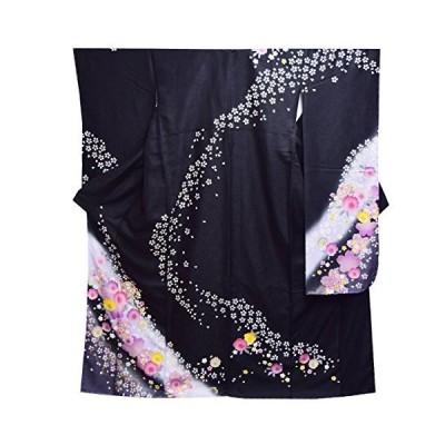 和道楽着物屋 高級 仕立て上がり 振袖 単品 成人式 結婚式 パーティー 礼装 黒 ピンク 桜 毬 花柄 番号d401-7 着物