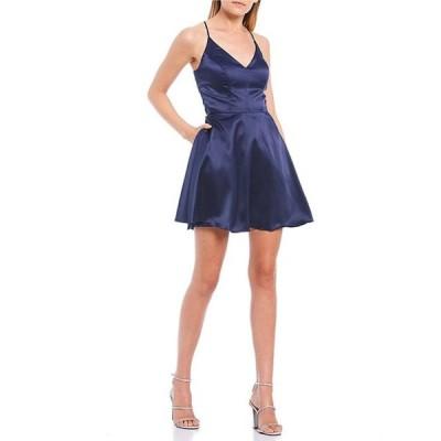 ビーダーリン レディース ワンピース トップス Satin Lace-Bra-Back Fit-and-Flare Dress