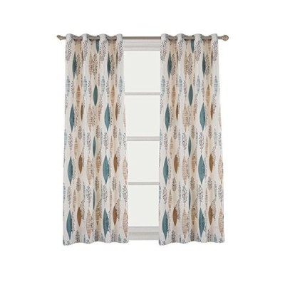 Cherry Home Rustic Curtains with Floral Leaves Blossom Room Darkening Blocking Light Lined Curtains Panel Drapes Bedroom Grommet Top,1 Panel