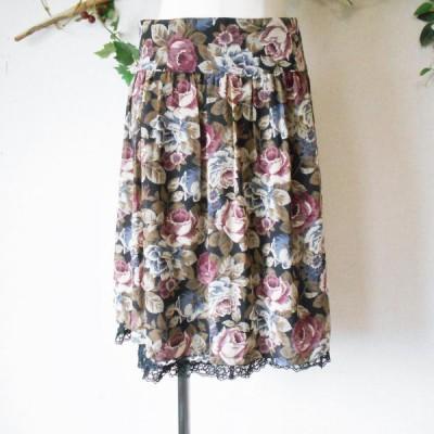 レストローズ LEST ROSE 裾 レース の 可愛い 花柄 プリント スカート 2