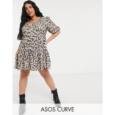 エイソス レディース ワンピース トップス ASOS DESIGN Curve textured tiered mini dress in purple and orange floral print