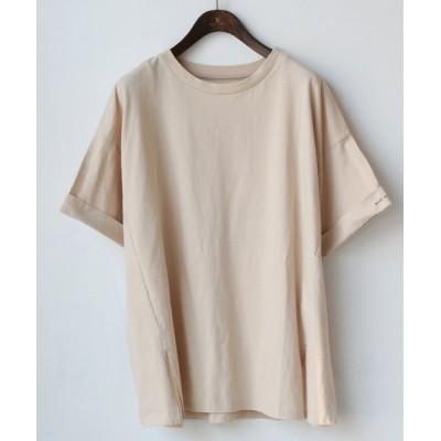 【リアルキューブ】 袖ロールアップ英字ロゴデザインTシャツ レディース ベージュ M REAL CUBE
