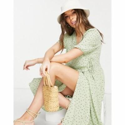モンキ Monki レディース ワンピース ラップドレス ワンピース・ドレス Yoana recycled midi wrap dress in green floral print