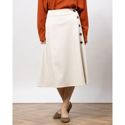 ルクールブランアウトレット le.coeur blanc outlet サイドボタンツイルフレアースカート (アイボリー)
