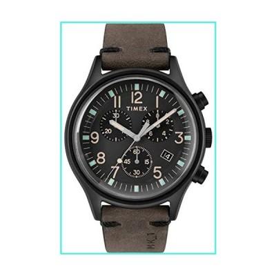 【新品】Timex Men's MK1 Steel Chronograph 42mm | Black Leather Strap | Watch TW2R96500(並行輸入品)