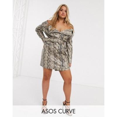 エイソス ドレス 大きいサイズ レディース ASOS DESIGN Curve premium snake pu belted mini dress エイソス ASOS マルチカラー
