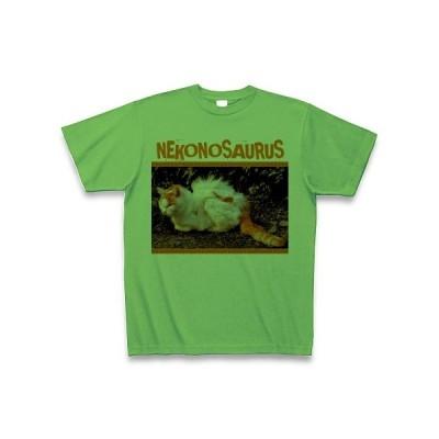 ネコノサウルス恐竜猫 Tシャツ(ブライトグリーン)