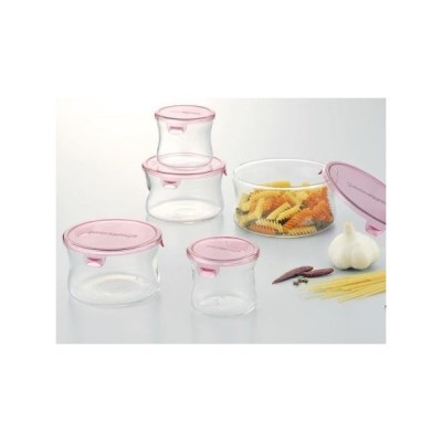 iwaki イワキ パック&レンジ 丸型5点セット ピンク 耐熱ガラス 保存容器 保存 作り置き レンジ調理 レンジ 下ごしらえ 清潔 便利