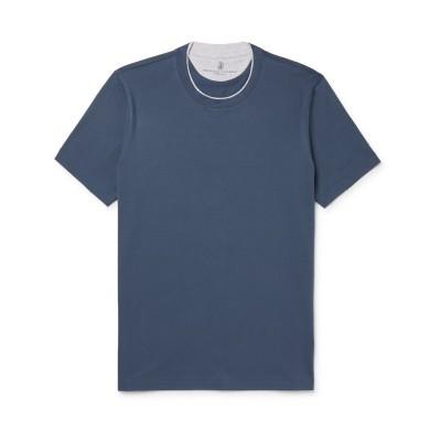 ブルネロ クチネリ BRUNELLO CUCINELLI T シャツ ブルーグレー XS 100% コットン T シャツ