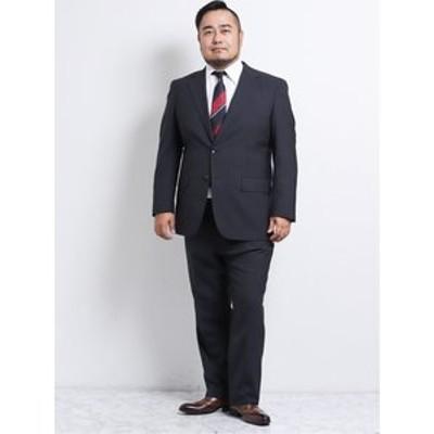 【大きいサイズ】グランバック/GRAND-BACK ウール混ナチュラルストレッチ2釦2ピーススーツ 黒杢