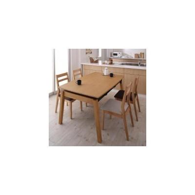 ダイニングテーブルセット 4人用 天然木オーク材 スライド伸縮式ダイニングセット 5点セット テーブル+チェア4脚 W140-240